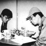 "<span class=""title"">昭和62年頃 都内某喫茶店にて取材風景</span>"